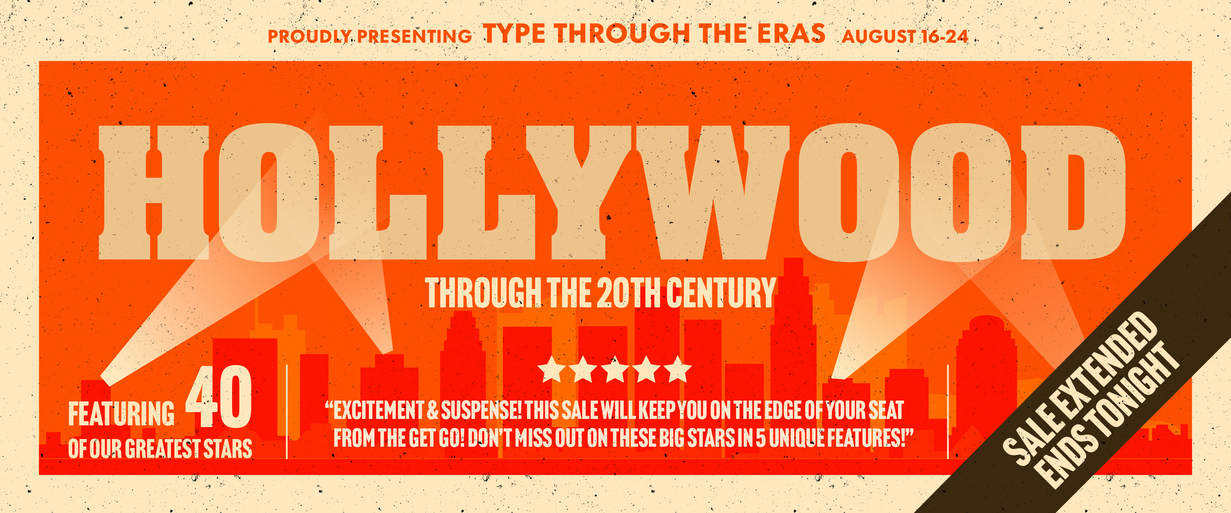 Take a stroll down memory lane as you explore the fonts in our Hollywood Through the 20th Century campaign! Tom Rickner from the Monotype Studio was inspired by his favorite movies as he curated this selection of fonts.  Simon Lamb added his artistic flare and brought each font poster to life - can you guess the movie names?   <br /> While you explore and guess the name be sure to click the buy button and add the fonts you love to your library. <br /> Don't Miss out! EXTENDED SALE ENDS TONIGHT on August 24th, 2021 at 11:59 p.m. EDT!!!