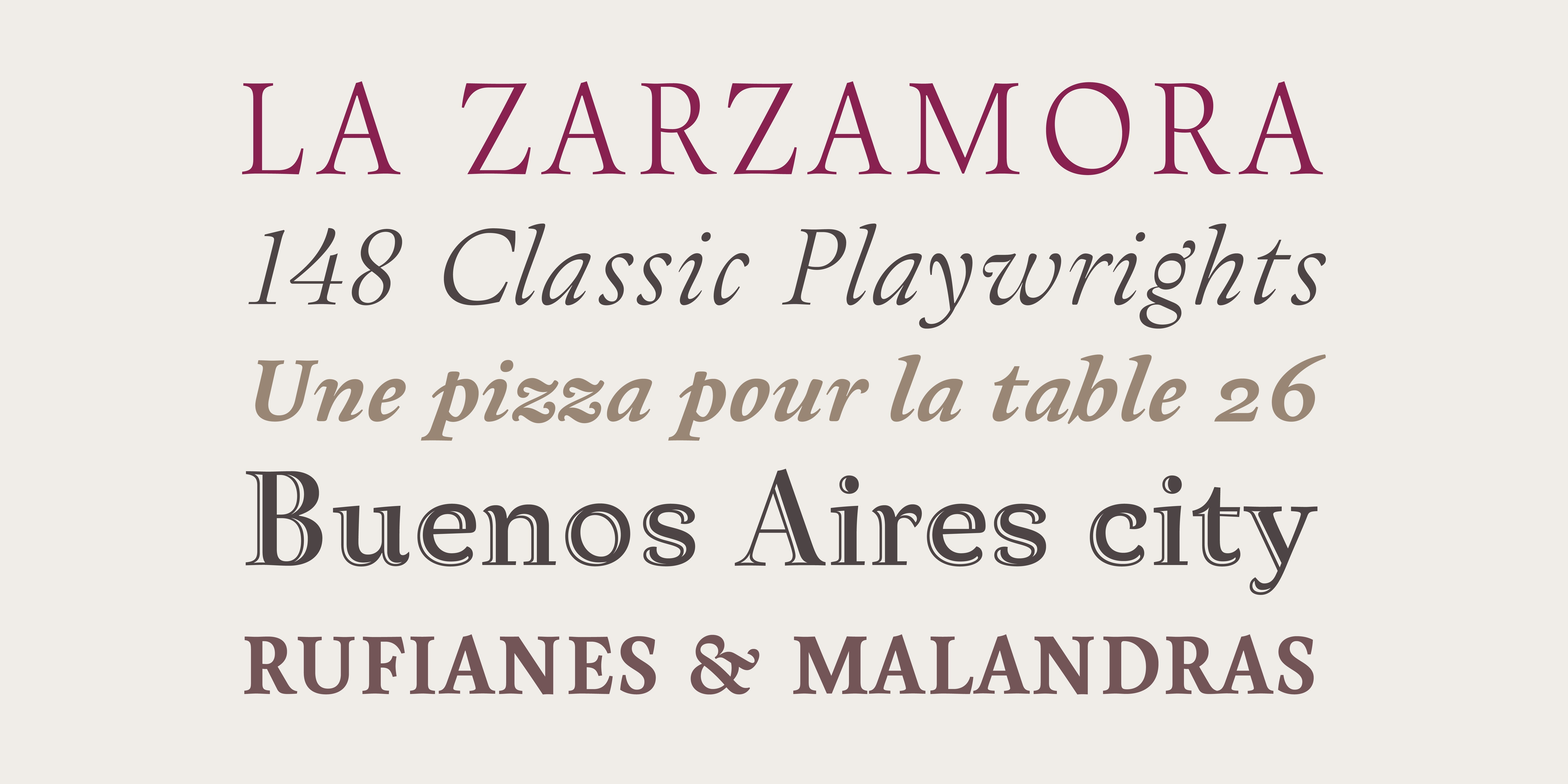 The elegant titling variants of Arlt come in two weights, Blanca & Negra in roman & cursive styles, and a captivating open face.