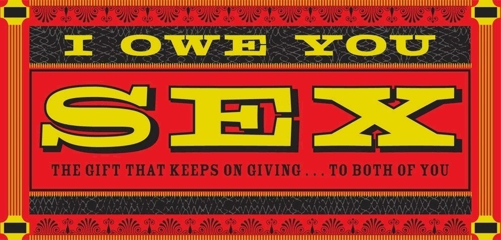 """Book cover 'I Owe You Sex' using FF Zapata (<a href=""""http://www.chroniclebooks.com/"""">Chronicle Books</a>)"""