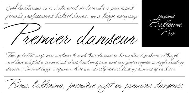 Ballerina Pro sounds like music, ballet, elegance and classic quality. That's exactly how Ballerina Pro carries the message to the reader. Ballerina Pro is a more of a formal script, light-weighted and very beautiful.??Ballerina Pro comes with 600 characters covering the complete Latin glyph set for West and East including Baltic and Turkish. Additionally, there is a large selection of stylistic alternates and ligatures to make this beautiful script design a perfect font for OTF-savvy applications.??Ballerina Pro is a very distinguished, elegant and versatile script font well-suited for anything in the area of ballet, classical music, art, ballet etc. Also, it is good for certificates, reports, documents and alike.