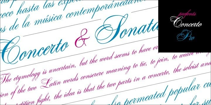 Concerto Pro and Sonata Pro are closely related to each other. In fact, the only difference between the two related fonts is in the upper-case characters. The Concerto Pro upper-cases characters are more complex, swashier than those in Sonata Pro. One is a perfect complement to the other. Both fonts contain about 1200 glyphs covering the complete Latin set for Western and Eastern Europe. Additionally, there is a large selection of alternates and ligatures to make this beautiful script design a perfect font for OTF-savvy applications.