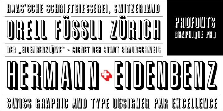 Graphique Pro was originally created by the famous Swiss designer Hermann Eidenbenz in 1945, and issued as hot metal font by Haas'sche Schriftgießerei, Switzerland.    German type designer Ralph M. Unger digitally remastered and expanded the typeface for profonts. The digital version includes about 500 characters including the complete Latin and Cyrillic glyph sets.    Graphique Pro is a all caps font as outline shadow, very narrow, very economic, and thus ideal for headlines, posters, signs and a lot more.