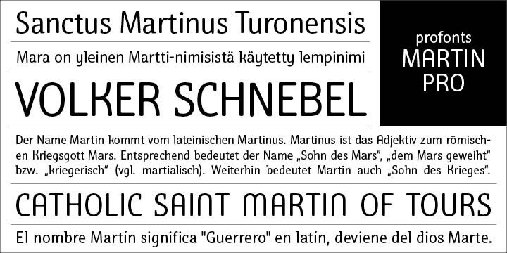 Martin Pro, a condensed semi-serif with rounded edges and friendly serifs, shows its charm best in short, pointed sentences, in headlines set in about 20 to 36pt. The playing with serifs in a condensed, very characteristic type design is attractive and the technical skill is convincing. More styles are planned. The idea was to try to apply a given design criteria (also see Volker Schnebel's Marita Pro and Manuel fonts Pro) to every single character. In other words, start with a character and develop all of the others from it. This is quite easy for some characters but extremely difficult for others. This process generates creativity and the characters move away from the initial constructed sketch. Together in a typeface, the individual characters are now all of a piece and character.