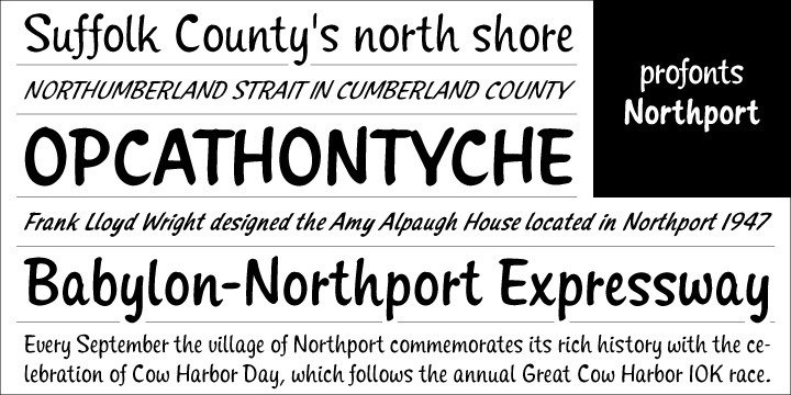 Northport is another jaunty, casual and non-connecting script in the profonts range of casual script designs that comes with six styles as light, medium, bold plus matching italics. It also is a very fresh, young and versatile, intentionally non-slanted script not quite as calligraphic as Sonoro Pro or Santa Fe Pro.