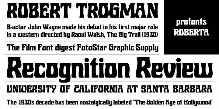 Roberta goes back to the old poster fonts of the 1930s. It is an excellent alternative and combination to fonts like Arnold Böcklin or Hobo.   Ralph M. Unger redrew and digitized this font exclusively for profonts in 2003. His work is based on artwork taken from old font catalogues