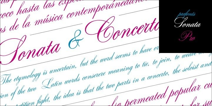 Sonata Pro and Concerto Pro are closely related to each other. In fact, the only difference between the two related fonts is in the upper-case characters. The Concerto Pro upper-cases characters are more complex, swashier than those in Sonata Pro. One is a perfect complement to the other. Both fonts contain about 1200 glyphs covering the complete Latin set for Western and Eastern Europe.    Additionally, there is a large selection of alternates and ligatures to make this beautiful script design a perfect font for OTF-savvy applications.