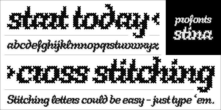 Stina is a cursive font based on a cross stitch pattern. It can be used in (very) tall letters but it also stays legible in smaller sizes. Because of its joined letter pairs and ligatures it retains the flow of a 'handwritten' cursive font. So, have you ever felt like stitching? - Start today.