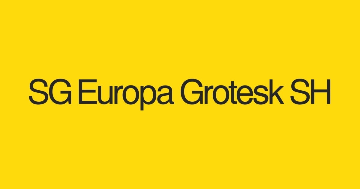 SG Europa Grotesk SH Font | FontShop